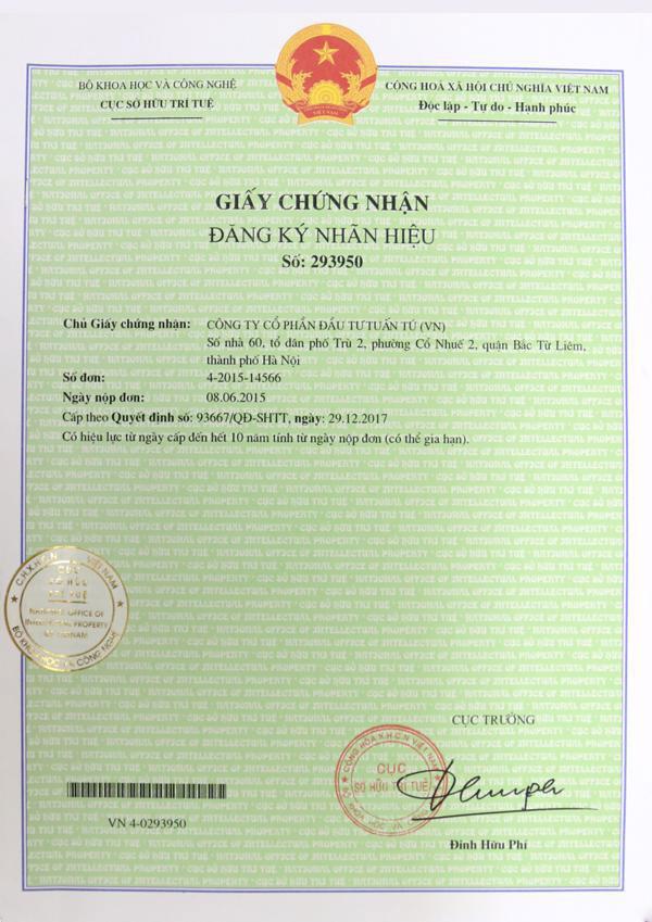 Hình ảnh giấy chứng nhận đăng ký nhãn hiệu độc quyền